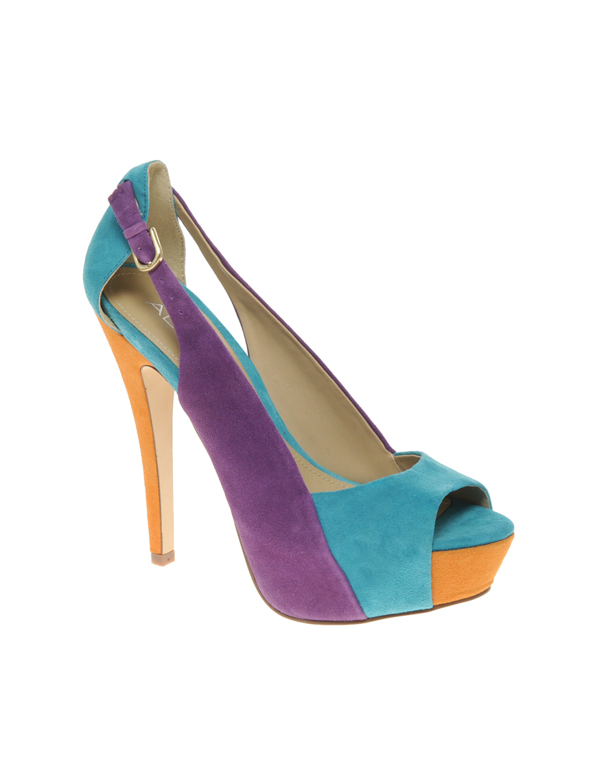 Aldo Mazar Peep Toe Colour Block Heeled Shoes